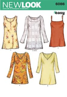 6086 New Look Pattern: Misses' Tunic Tops